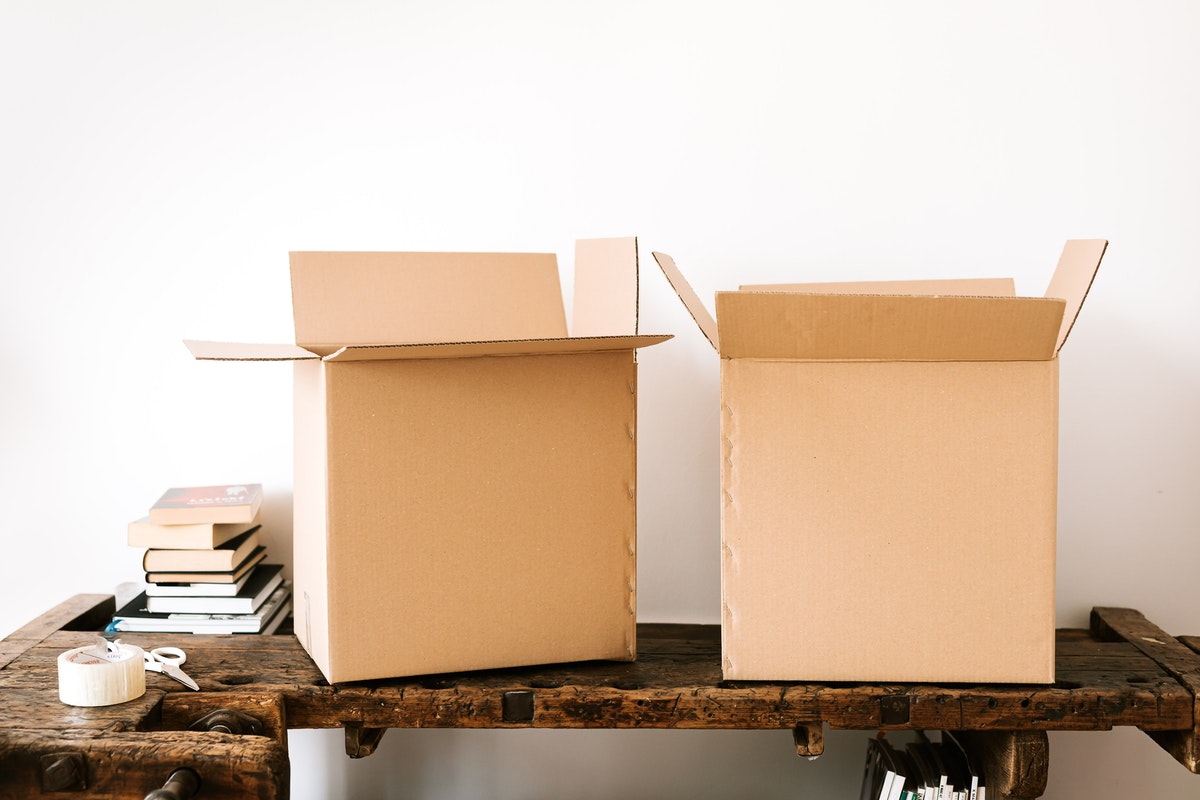 two boxes ready for self-storage for businesses